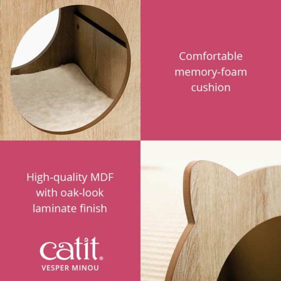 Vesper Minou has a comfortable memory-foam cushion and has high-quality mdf with oak-look laminate finish